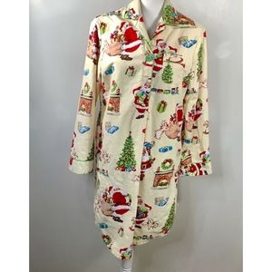 Nick & Nora Sleepwear Cotton Flannel  Santa Medium